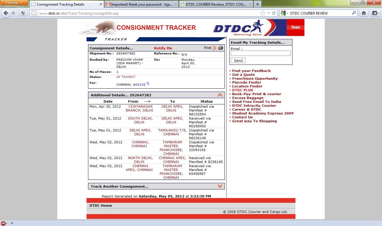 shipment no   z62647382 reg