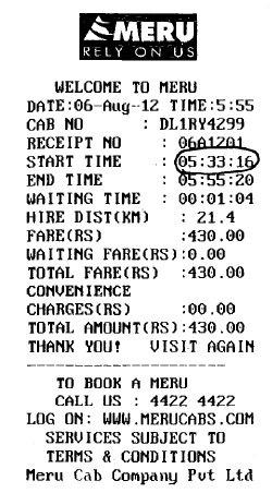 yellow cab bill format
