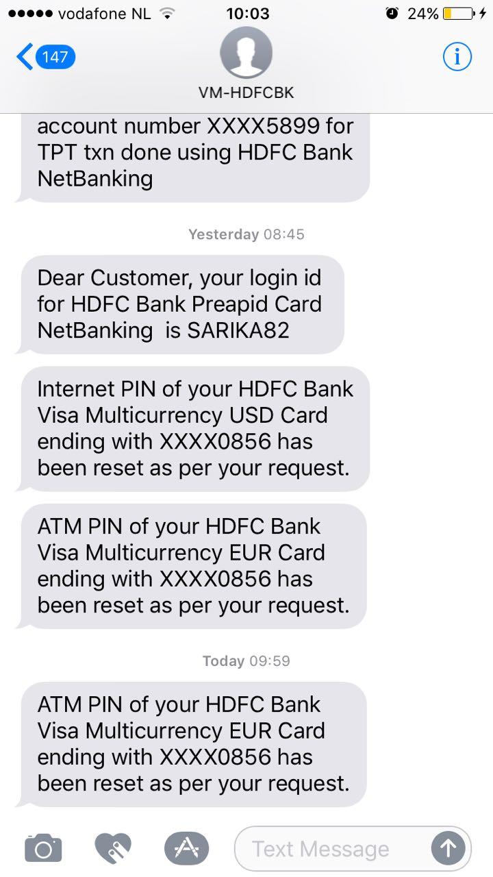 Hdfc bank forex card