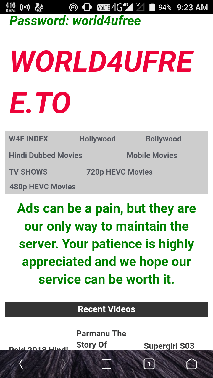 Need to improve the quality of movies - WORLD4UFREE TO Consumer