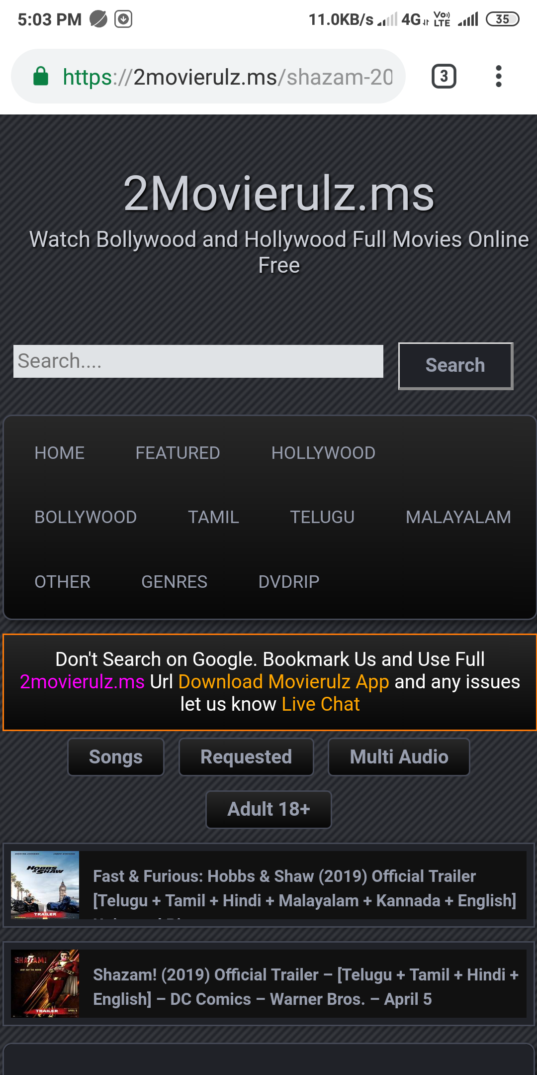 Online watching movies site - 2MOVIERULZ TV Consumer Review
