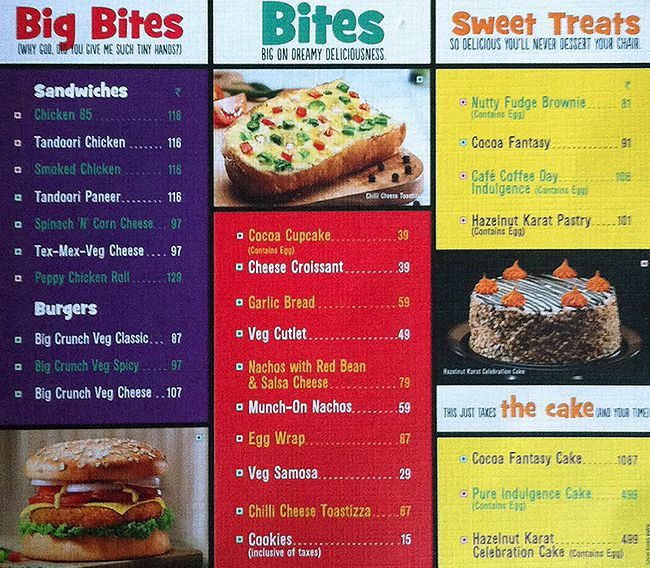 Cafe Coffee Day Menu Rate List