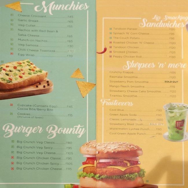 Cafe Coffee Day Trichy Menu