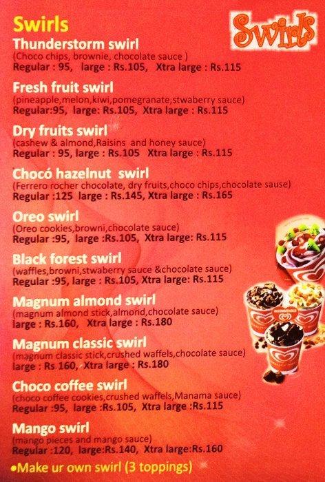 kwality walls ice cream price list india
