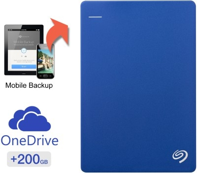 Seagate Backup Plus Slim 2 Tb 200 Gb Cloud Storage External Hard Drive Image