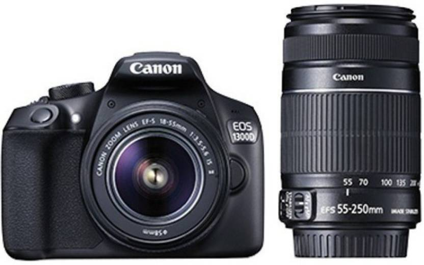 Canon EOS 1300D EF-S 18 - 55 mm IS II + EF-S 55 - 250 mm F4 5.6 IS II DSLR Camera Image