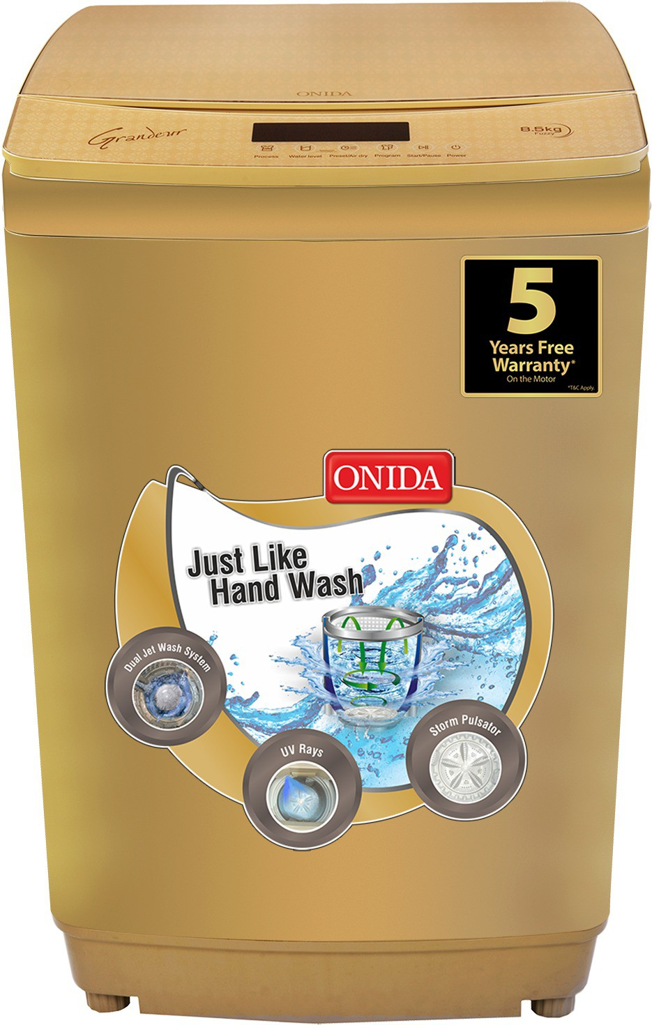 Onida 8.5 kg Fully Automatic Top Load Washing Machine Gold(T85GRDD) Image