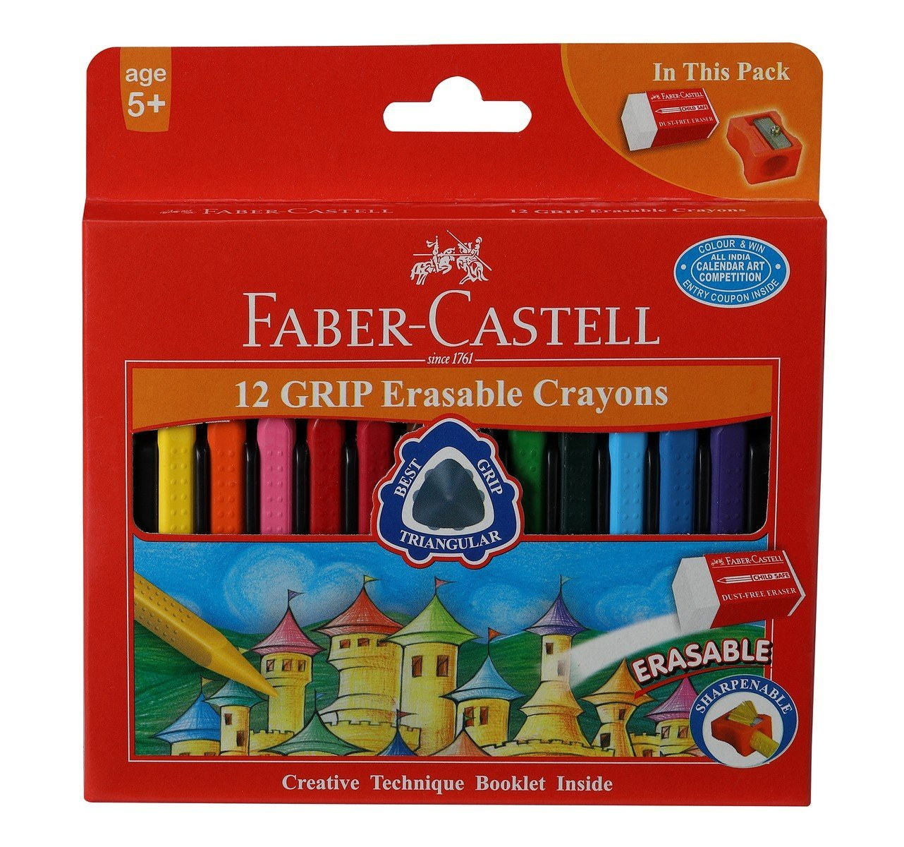 Faber Castell 12 Grip Erasable Crayons Image