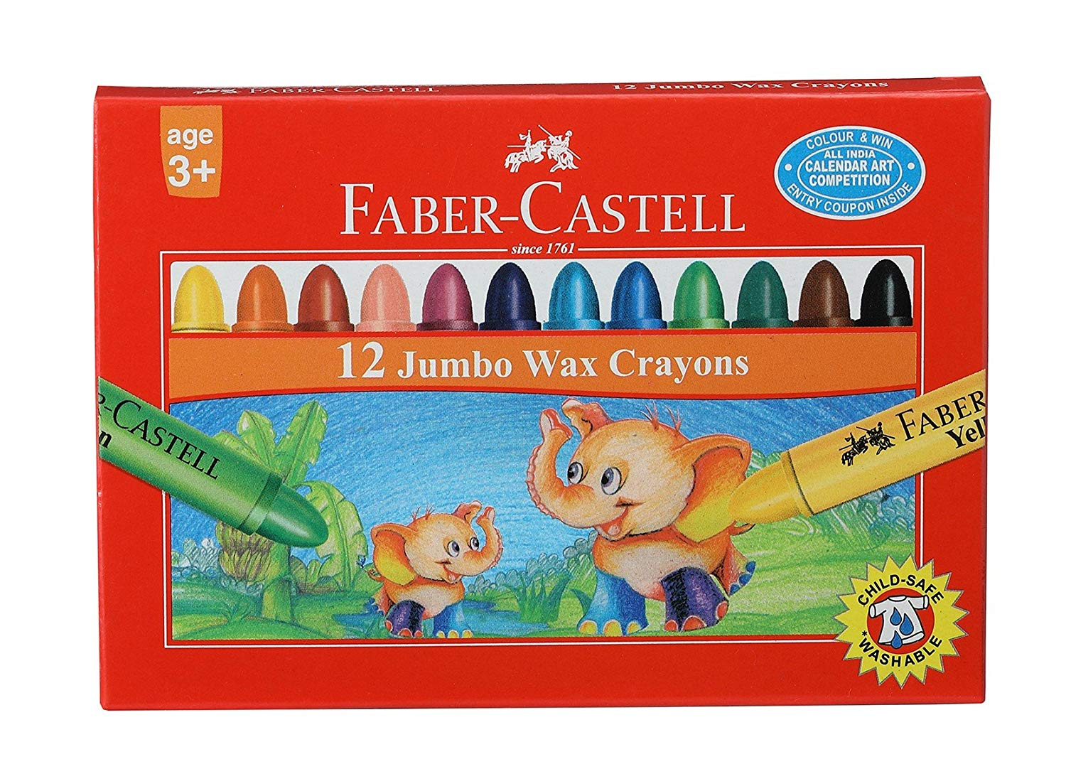 Faber Castell 12 Wax Crayons Image