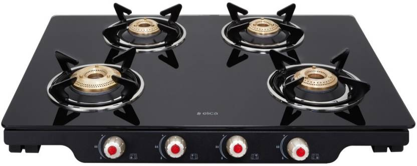 Elica Glass 4 Burner Gas Stove Patio ICT 469 BLK S Image