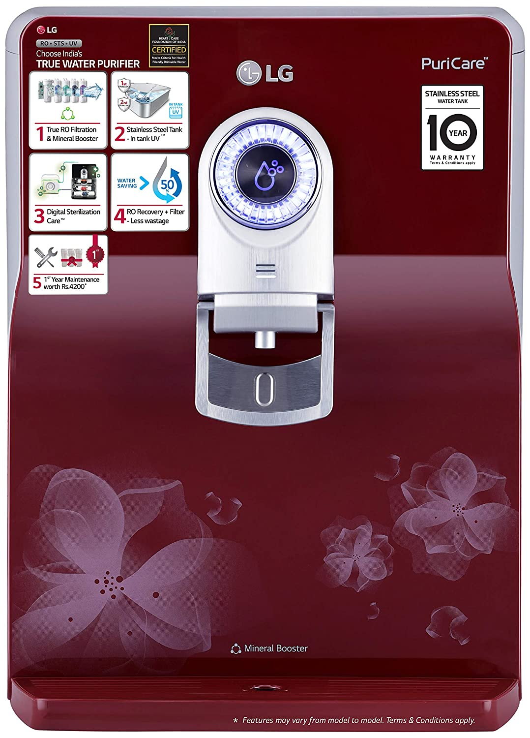 LG WW172EP 8L RO+UV Water Purifier with Stainless Steel Tank Image