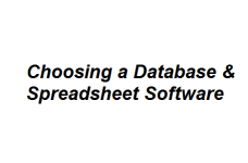 Choosing a Database & Spreadsheet Software