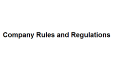 Company Rules and Regulations