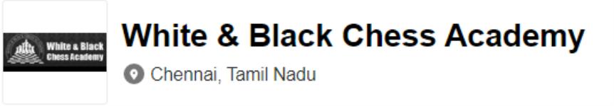 White & Black Chess Centre - Chennai
