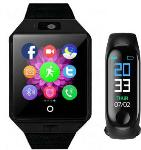 Time Up ComboFitness Tracker Band Black Smartwatch